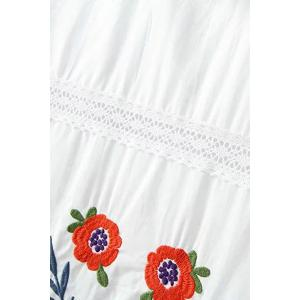 Stylish Mock Neck Short Sleeve Embroidery Dress For Women -