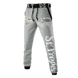 Loose Fit Letters Print Color Spliced Lace-Up Jogger Pants For Men