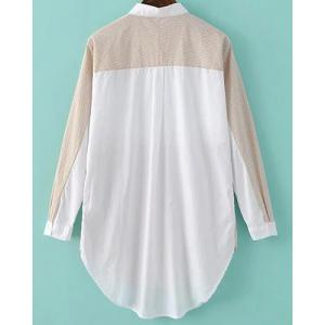 Refreshing Shirt Collar Long Sleeve Color Block High-Low Hem Women's Shirt - OFF-WHITE ONE SIZE(FIT SIZE XS TO M)