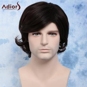 Short Side Bang Synthetic Fluffy Wavy Anti Alice Hair Men's Wig - Deep Brown