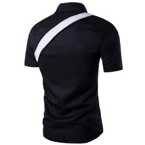 Turn-Down Collar Color Block Spliced Short Sleeve Men's Shirt -