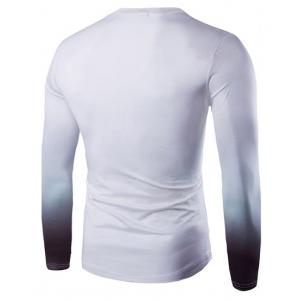 Vogue Slimming Round Neck 3D Beefcake Print Long Sleeves Ombre T-Shirt For Men - PURPLE M
