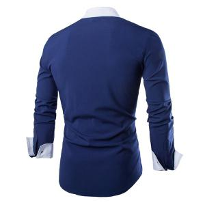Simple Shirt Collar Color Block Button Fly Slimming Men's Long Sleeves Shirt -