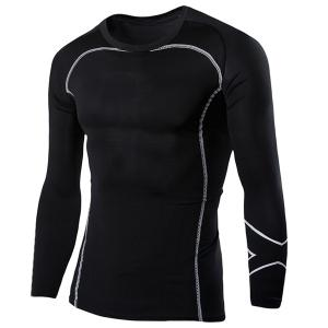 Casual Round Neck Stripes Pattern Black Long Sleeves Sweat Dry Tight T-Shirt For Men - Black - L