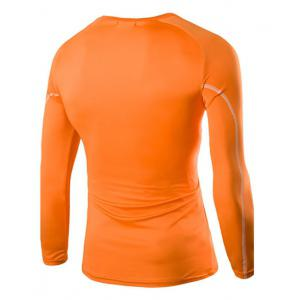 Letters Stripes Pattern Skintight Round Neck Long Sleeves Quick-Dry T-Shirt For Men - ORANGE L