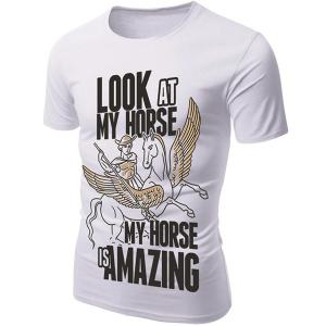 3D Cartoon Pegasus Print Character T-Shirt -