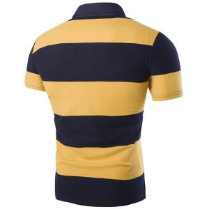 Color Block Letters Embroidered Turn-down Collar Short Sleeves Slimming Polo T-Shirt For Men -