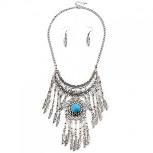 A Suit of Ethnic Artificial Gem Moon Leaf Necklace and Earrings -