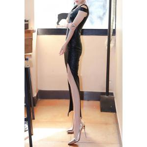 Metallic High Slit Dress -