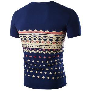 Fashion Round Neck Geometric Print Short Sleeves Slimming T-Shirt For Men - CADETBLUE M