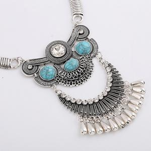 A Suit of Ethnic Artificial Gem Water Drop Necklace and Earrings - SILVER/BLUE