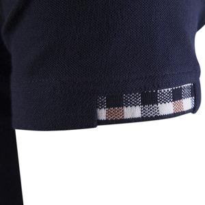 Color Block Plaid Spliced Turn-down Collar Shorts Sleeves Polo T-Shirt For Men - CADETBLUE L
