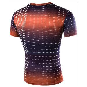 Round Neck Gradient Color Short Sleeve Men's T-Shirt -