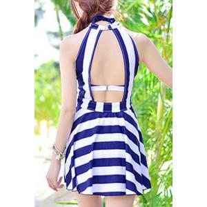 Stylish Halter  High Waist Bikini and Backless Mini Dress For Women - BLUE L