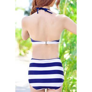 Stylish Halter  High Waist Bikini and Backless Mini Dress For Women -