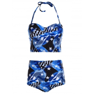 Retro Style Halter Neck Star Print Push Up High Waist Bathing Suit For Women -