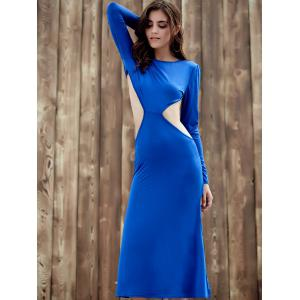 Elegant Long Sleeve Backless Cut Out Solid Color Sheath Dress For Women -