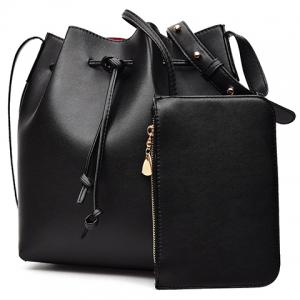 Leisure Solid Color and String Design Crossbody Bag For Women - BLACK