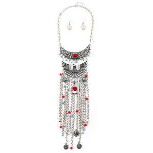 A Suit of Statement Artificial Gem Eagle Coin Necklace and Earrings - SILVER