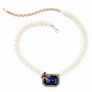 Gorgeous Faux Pearl Rhinestone Bowknot Necklace For Women -