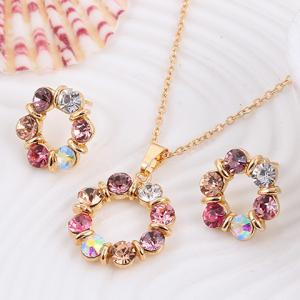 A Suit of Alloy Rhinestone Round Necklace and Earrings -