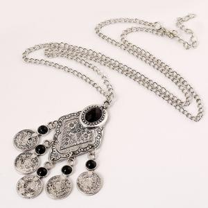 Ethnic Artificial Gem Coin Necklace -