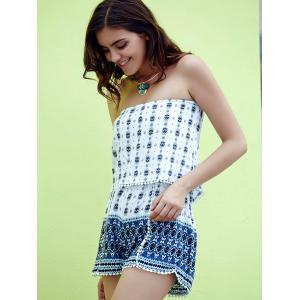 Fashionable Strapless Printed Laciness Women's Romper - WHITE L