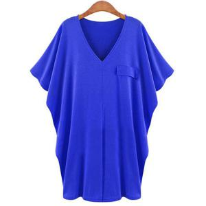 Casual Solid Color V-Neck Batwing Sleeve T-Shirt Dress For Women