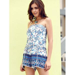 Chic Strapless Floral Print Laciness Women's Romper -