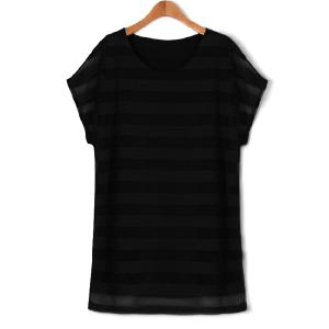 Plus Size Striped Layered Tee Casual Dress