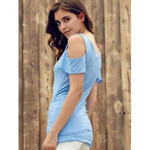 Stylish U Neck Short Sleeve Solid Color Cut Out T-Shirt For Women -