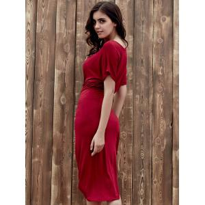 Stylish Boat Neck Batwing Sleeve Asymmetrical Slimming Wine Red Dress For Women -