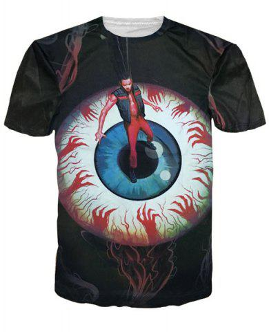 Chic Vogue Round Neck 3D Eyeball and Figure Print Short Sleeves T-Shirt For Men COLORMIX M