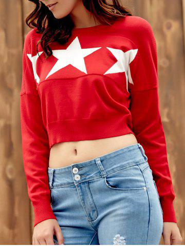 Cheap Endearing Long Sleeve Star Printed Pullover Cropped Sweater For Women