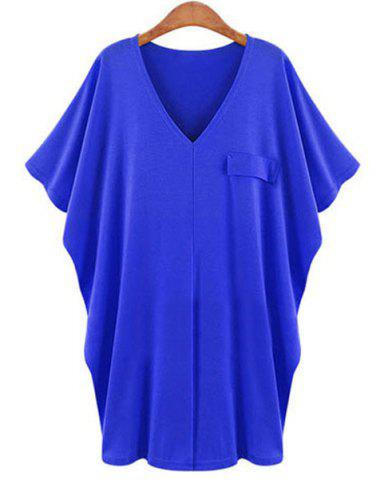 Latest Casual Solid Color V-Neck Batwing Sleeve T-Shirt Dress For Women BLUE XL
