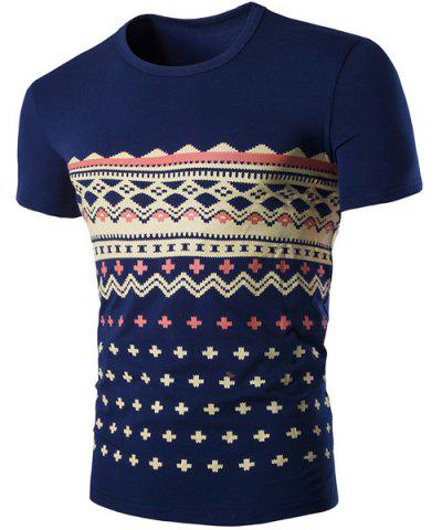 Best Fashion Round Neck Geometric Print Short Sleeves Slimming T-Shirt For Men CADETBLUE M