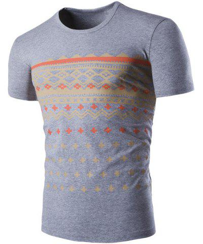 Affordable Fashion Round Neck Geometric Print Short Sleeves Slimming T-Shirt For Men GRAY XL