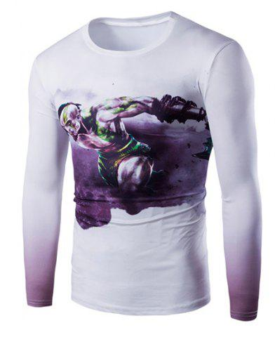 Buy Vogue Slimming Round Neck 3D Beefcake Print Long Sleeves Ombre T-Shirt For Men
