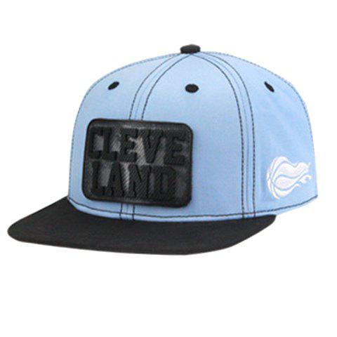 Online Stylish Letter and Rectangle Shape Embellished Baseball Cap For Men - LIGHT BLUE  Mobile
