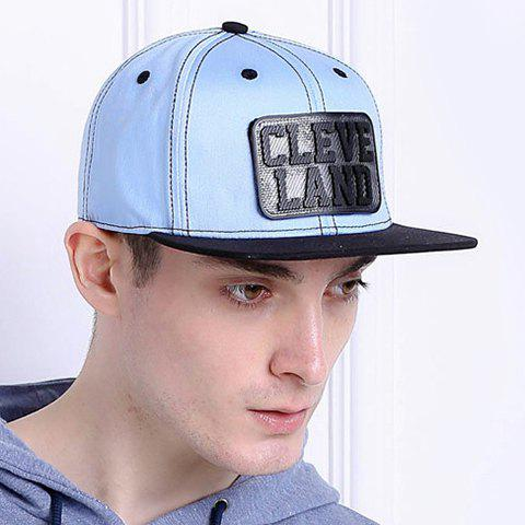 Outfits Stylish Letter and Rectangle Shape Embellished Baseball Cap For Men - LIGHT BLUE  Mobile