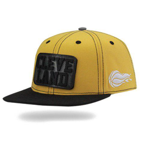 Stylish Letter and Rectangle Shape Embellished Baseball Cap For Men - Yellow