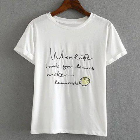 Affordable Letter Embroidered Cuffed Sleeve T-Shirt