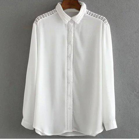 Fancy Fashionable Shirt Collar Long Sleeve Pure Color Mesh Splicing Women's Shirt WHITE M