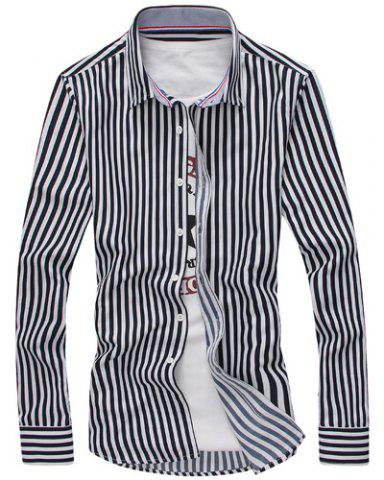 Unique Vertical Stripe Turn-Down Collar Long Sleeve Shirt For Men