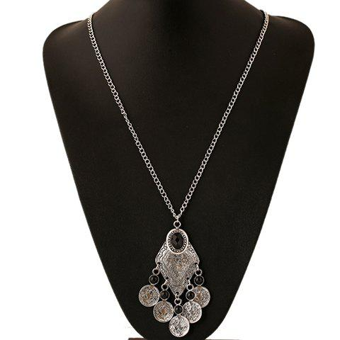 Outfits Ethnic Artificial Gem Coin Necklace SILVER