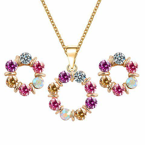 Buy A Suit of Alloy Rhinestone Round Necklace and Earrings
