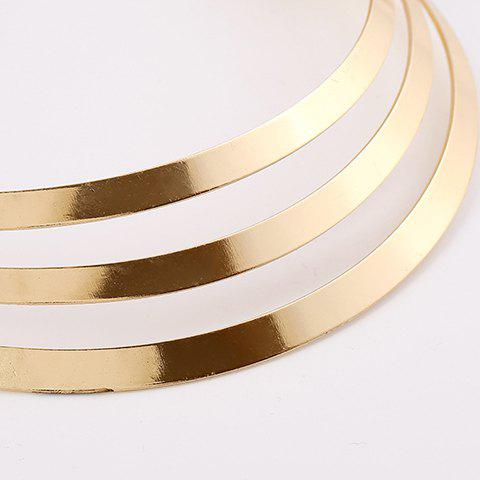 Latest Punk Metallic Curved Mirror Mottle Necklace - GOLDEN  Mobile