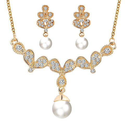 Online A Suit of Alloy Rhinestone Faux Pearl Pendant Necklace and Earrings