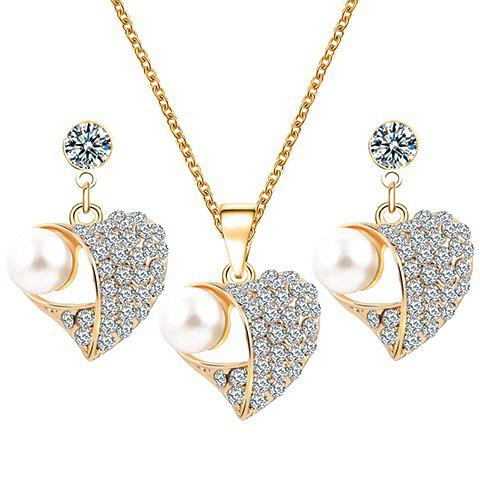 Latest A Suit of Heart Rhinestone Faux Pearl Necklace and Earrings