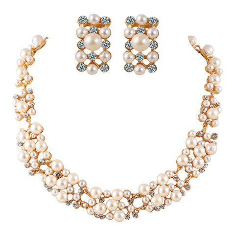 Affordable A Suit of Alloy Rhinestoned Faux Pearl Necklace and Earrings